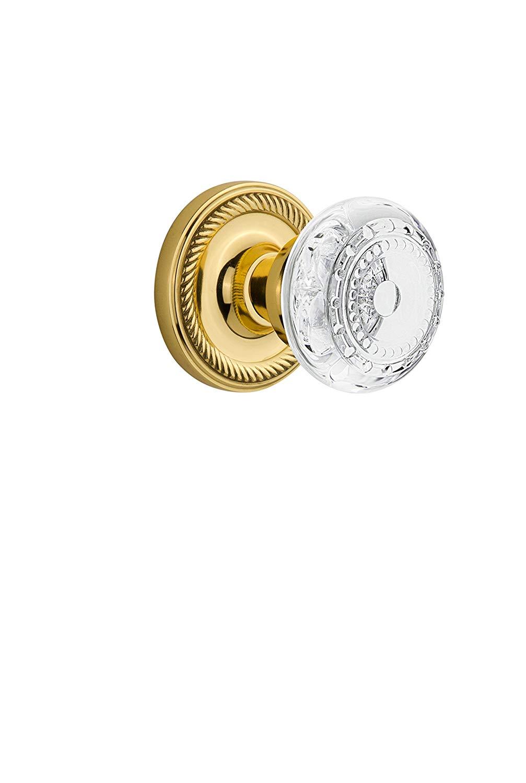 "Nostalgic Warehouse 752564 Rope Rosette Privacy Crystal Meadows Door Knob, Backset Size: 2.375"", Polished Brass"
