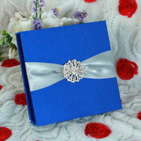 Luxury Royal Blue Wholesale Wedding Invitations Silk Boxes
