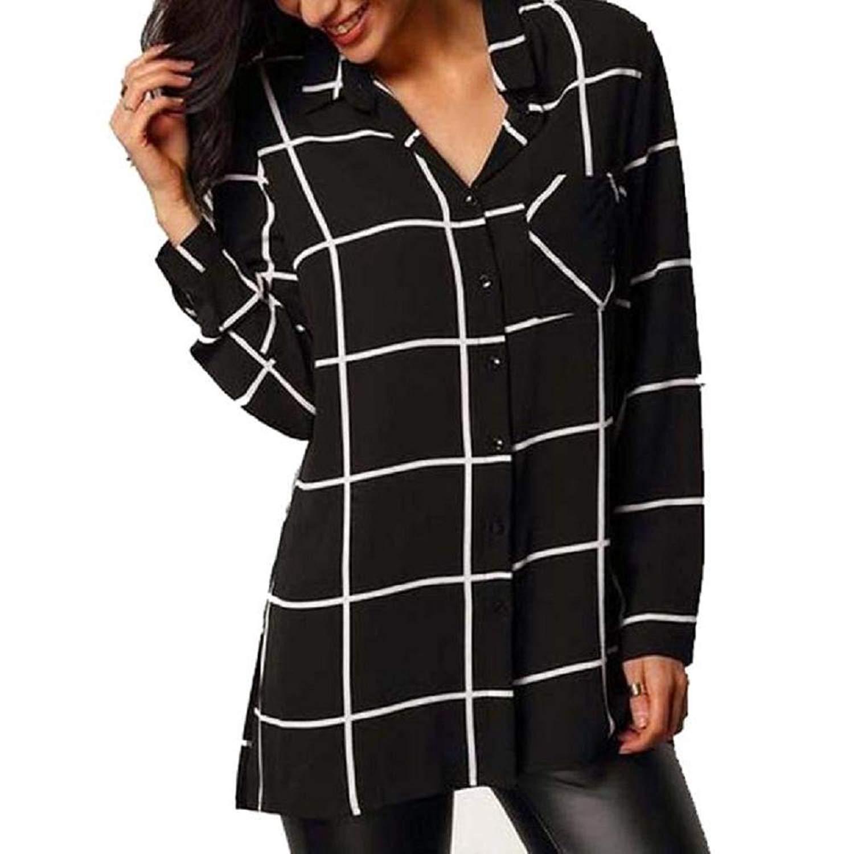 VIASA_ Women Plaid Print Shirts, Long Sleeve Chiffon Shirt Casual Tops Blouse T-Shirts