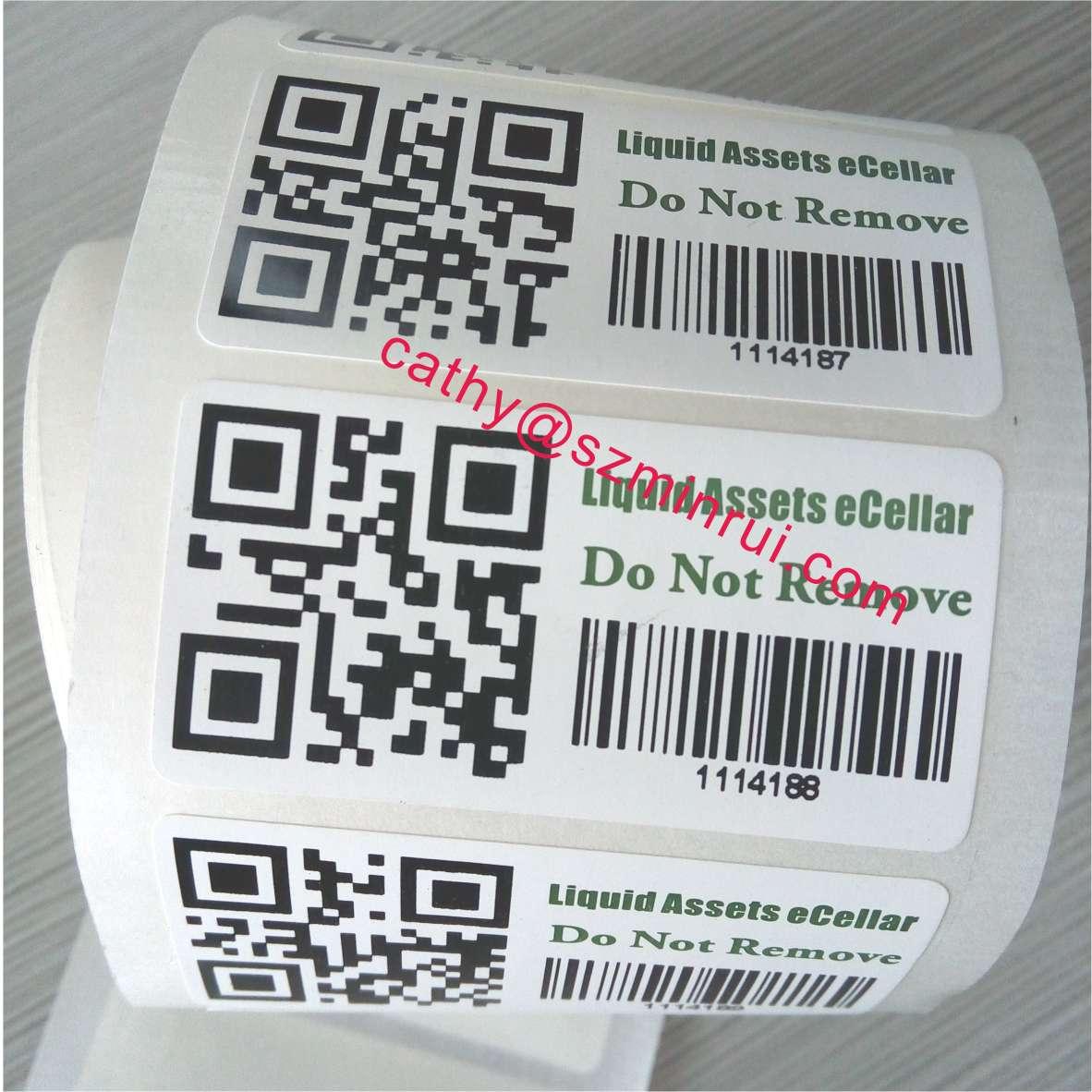 Tamper evident proof brcode asset labels,Custom tamper asset ID label tag  with printed barcode