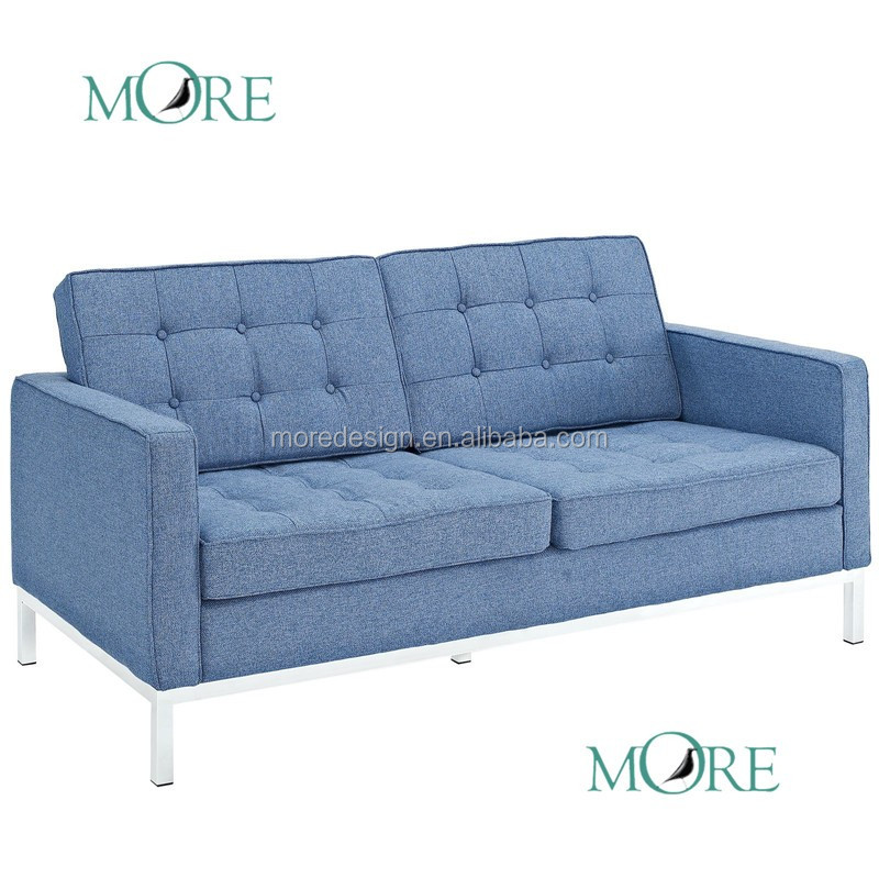 Midcentury Modern Florence Arm Chair, Azure Houndstooth Twill Logan  Apartment Size Sofa Living Room Sofa