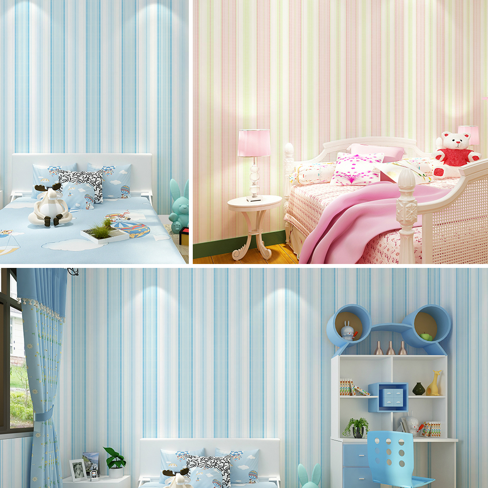6263 modern stripe wallpaper blue pink non woven wall - Pink and white striped wallpaper bedroom ...