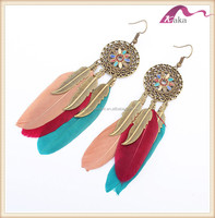 Colorful New Gold Resin Alloy Feather Earring Stud Earring on Party Sandbeach