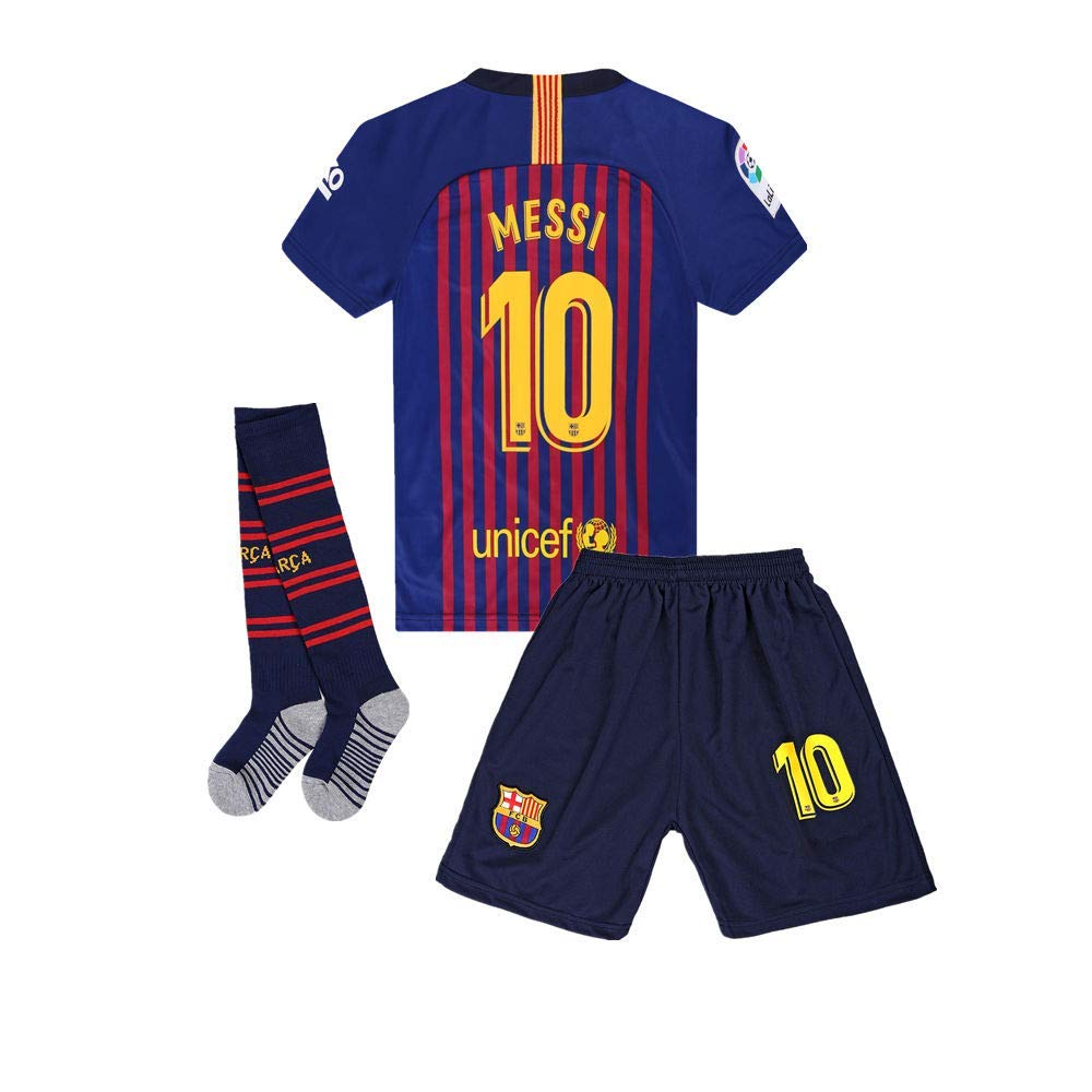 67a4552484b Get Quotations · LOPTION #10 Messi Barcelona Home 2018-2019 Soccer Jersey  Shorts Socks Kids & Youth