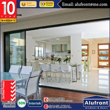 Australia standard AS2047 with aluminum frame stacking triple glass sliding door
