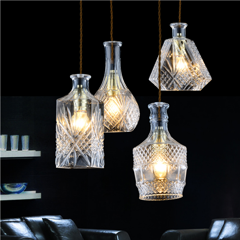 Transparent glass shade rustic painting LED pendant lamps