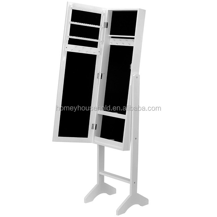 Floor standing wood full-length mirrored jewelry armoire with LED light
