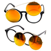 Fancy mirror round womens mens interchangeable personalized orange sunglasses