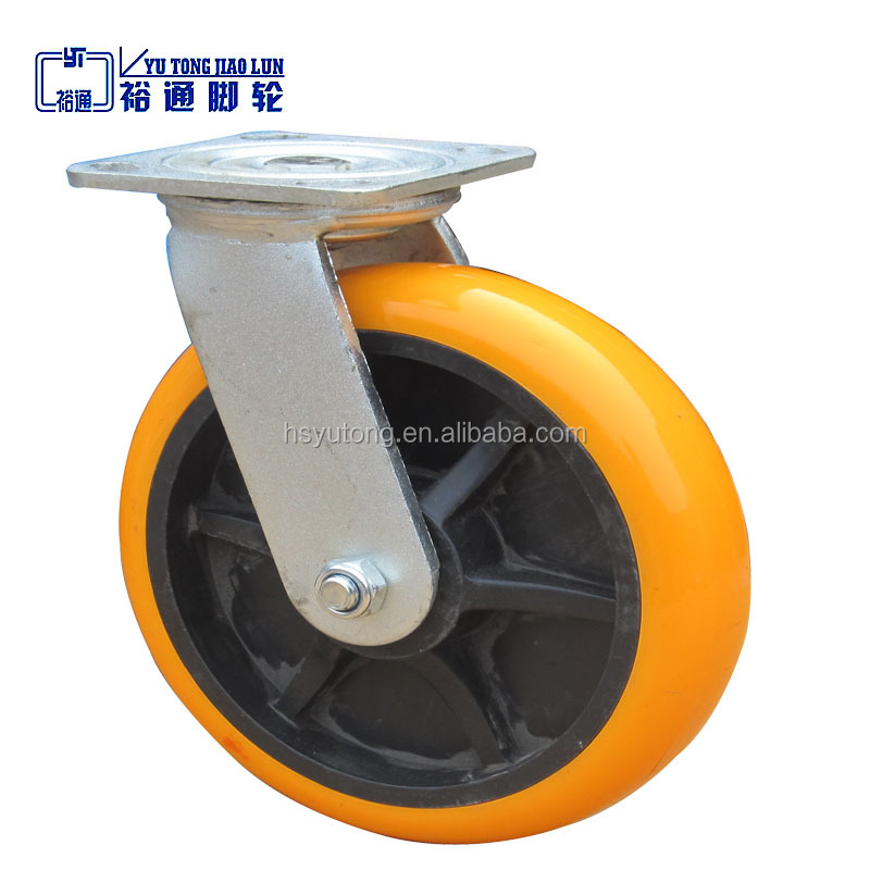 8 inch wheel Industrial yellow plastic core PVC caster wheel