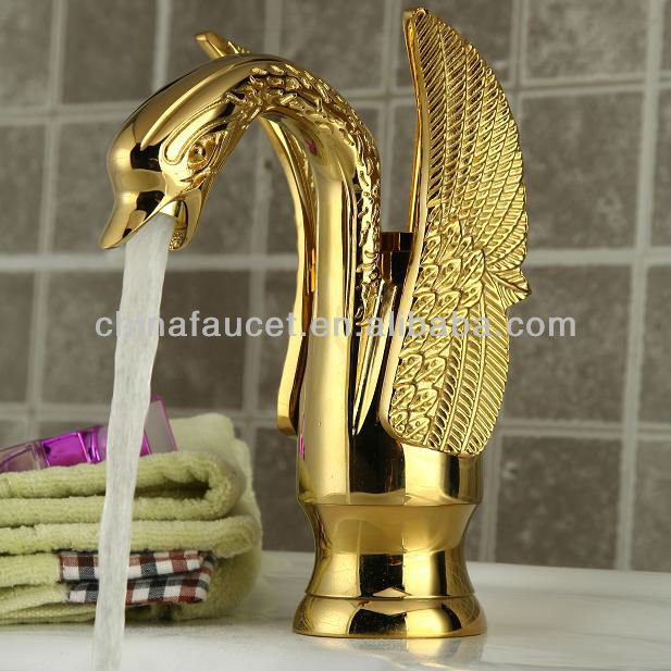 Hot Sale Swan Style Gold Finish Single Lever Mono Mixer Basin Taps QH2012G