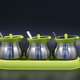 glass condiment set glass spice jar set pepper salt bottle with stainless steel coat green