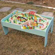 2017 Wholesale cartoon wooden kids train table new design wooden kids train table best wooden kids train table W04C071