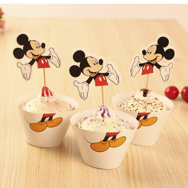 So hot!White Mickey Mouse Printed paper cupcake wrappers&toppers picks decoration for kids baby birthday wedding party supplies
