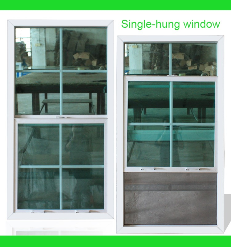Hot sale Energy saving door and window PVC single hung window / lifting window with good soundproof and fire insulation