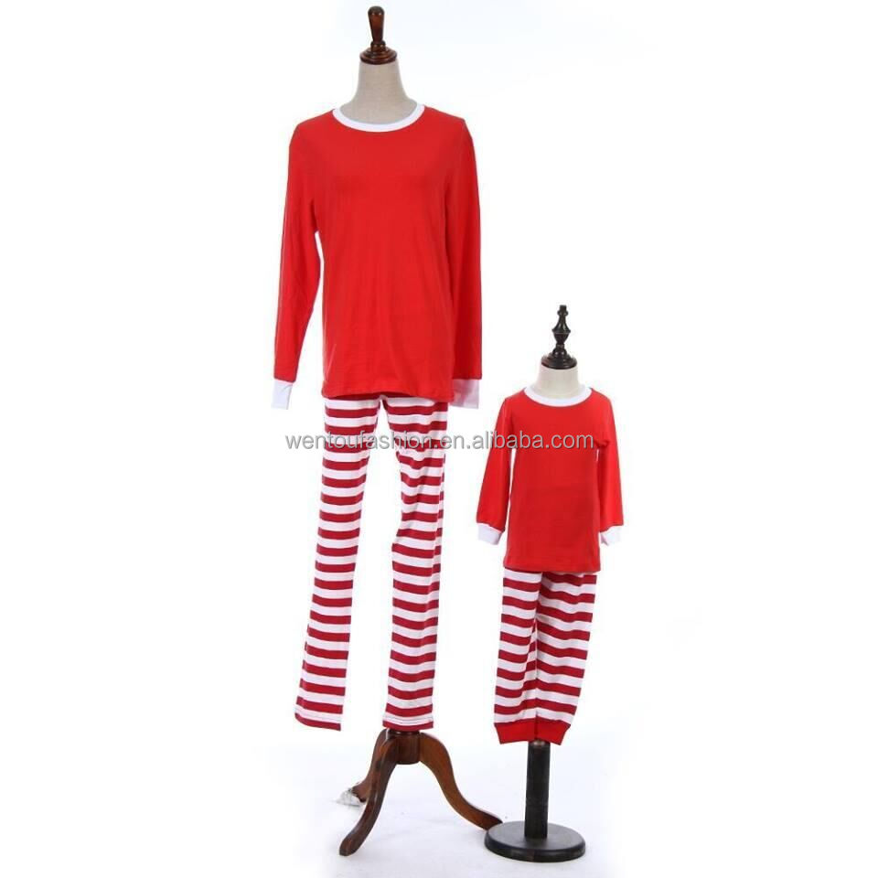 Boutique Personalized Monogram Red Green Stripe Family Adults Children's Christmas Pajamas