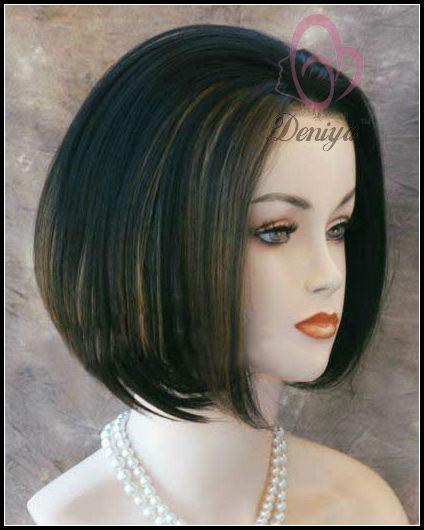 Inches Gelombang Lurus Halus Pendek Renda Depan Wig Rambut - Gaya rambut pendek depan