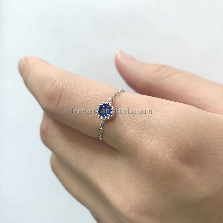 925 sterling silver link chain pendant blue stone ring