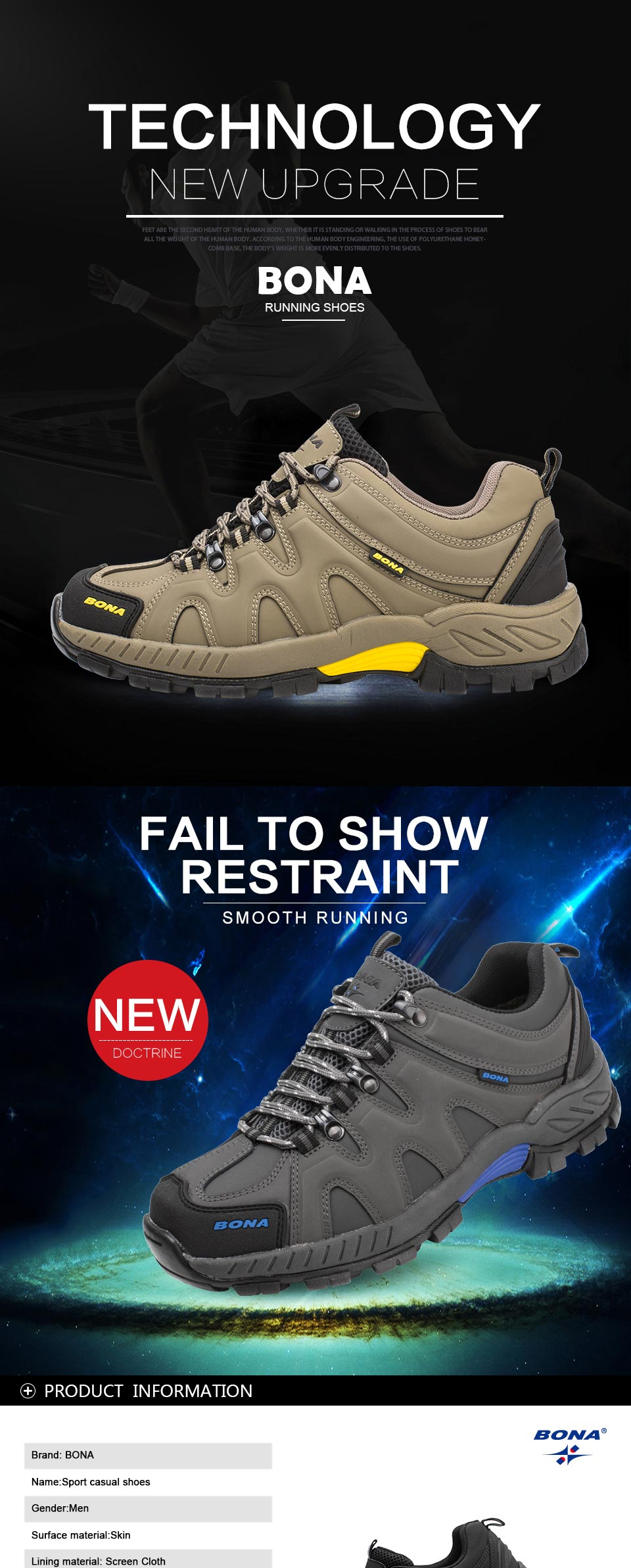 BONA New Arrival Classics Style Men Hiking Shoes Lace Up Men Sport Shoes Outdoor Jogging Trekking Sneakers Fast Free Shipping