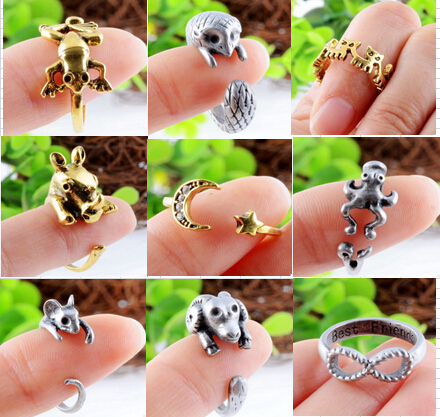 Vintage bronze silver animal rings openning adjustable rings
