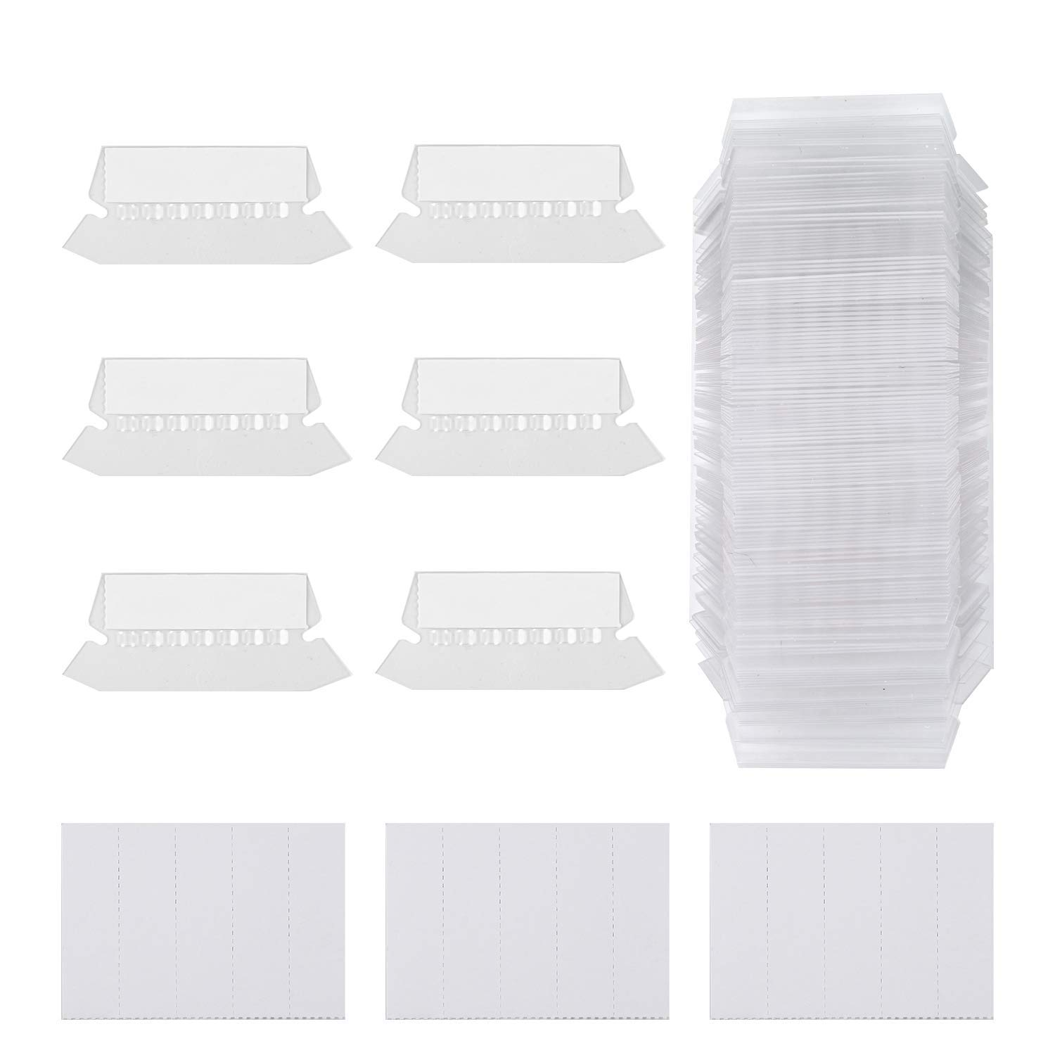 Gydandir 125 Sets Hanging Folder Tabs and 250 Sets Inserts for Quick Identification of Hanging Files,Clear to Read,2 inch Hanging File Inserts File Folder Labels