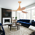 High quality multi-function wood color 3 blades electric ceiling fan with 24W led light