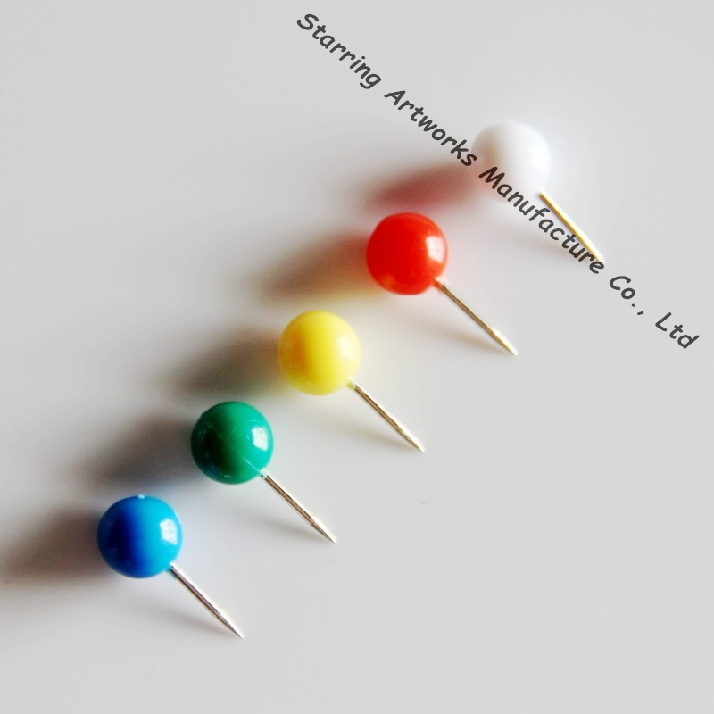 Assorted Colors 9.5*20mm Straight Plastic Ball Head Decorative Push Pin