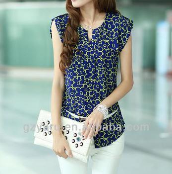 587bb5308211f4 New Style Of Sleeveless Floral Print Chiffon Fashion Blouses 2013 ...
