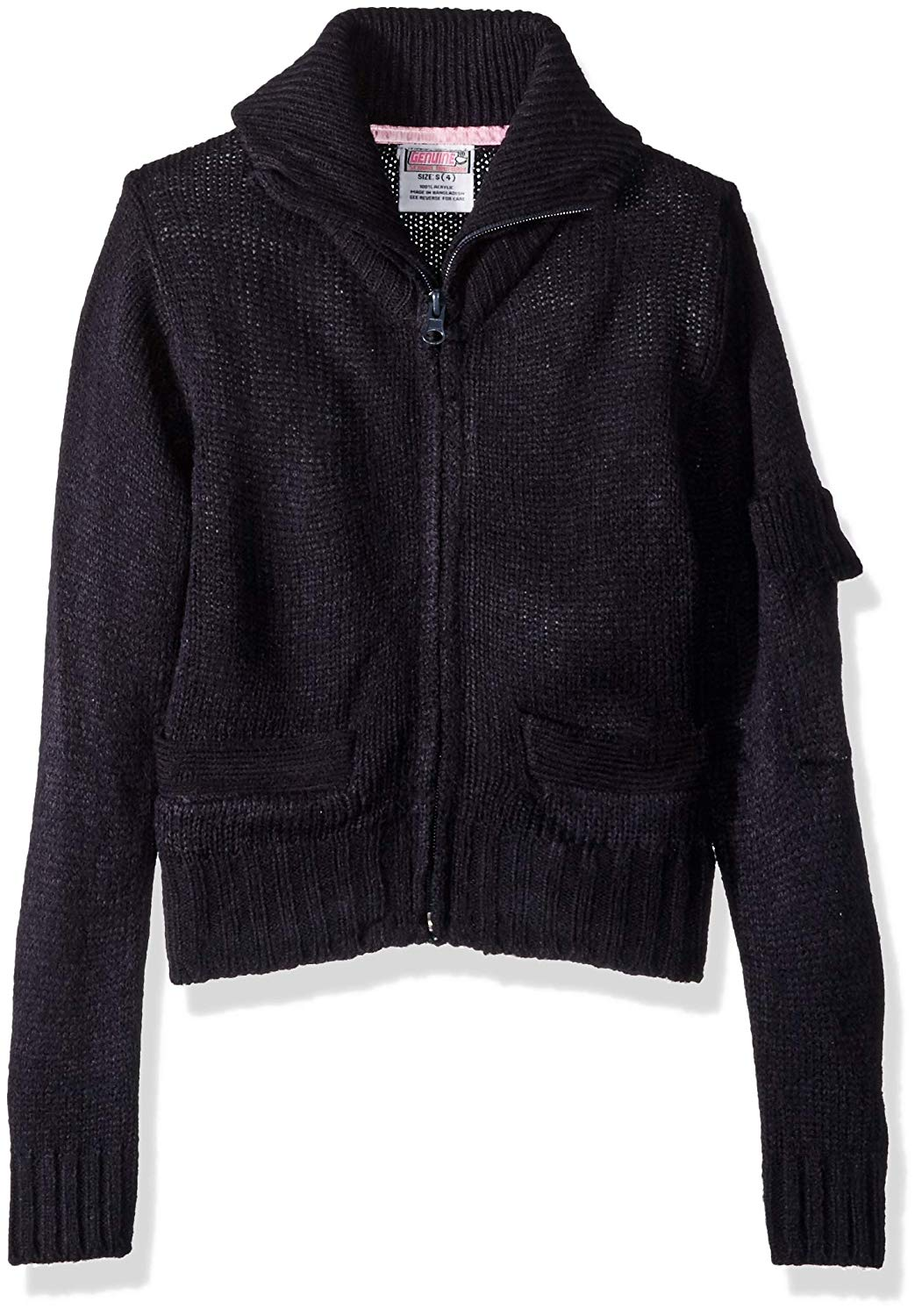 f2f4fb0a1dfd Get Quotations · Genuine Girls  Zip Front Mock Neck Cardigan Sweater with  Pocket on Sleeve