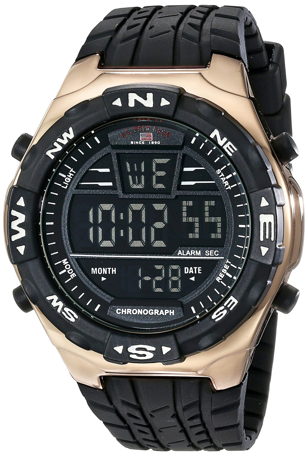 bb2a4b9b79d Get Quotations · U.S. Polo Assn. Sport Men s US9162 Black Silicone Digital  Watch