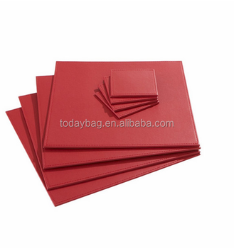 Charmant Heat Resistant Red Square Leather Table Mats And Coasters