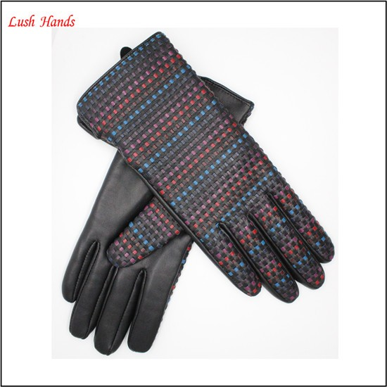 Ladies rainbow colorful woven lady leather gloves woven leather gloves