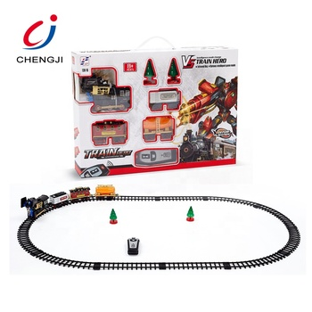 Most popular christmas gift plastic kids electric railway rc toy model train set with track