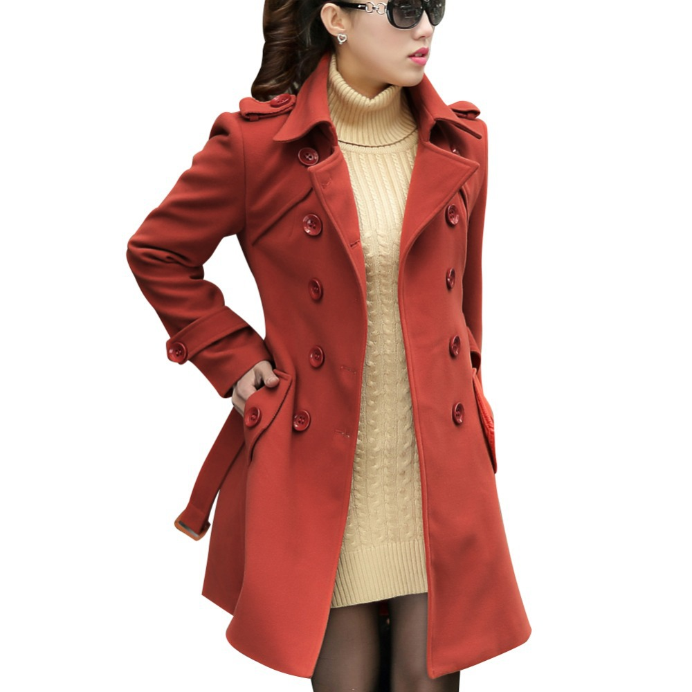 L-5XL ! Elegant Women Long Trench Coats Good Quality New Double Breasted Winter Woolen Fashion Lady Slim Blend Jackets