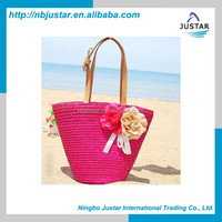 2015 New design girl's wooden handle beach bag promotional pink beach tote bag wholesale fashion straw beach bag for lady