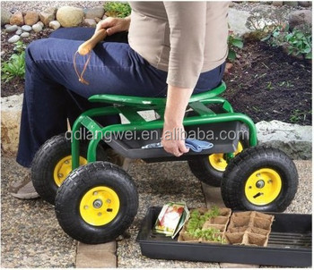 Amazing Rolling Work Seat With Tool Tray For Gardening Landscape Scooter 10u0026quot;  ...