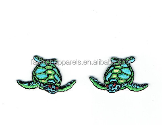 Small - Mini Sea Turtle - Facing Right or Left - Blue and Green - Iron on Applique - Embroidered Patch