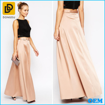 Elegant Smooth Satin Belted Waist Plus Size Formal Skirt Long Maxi ...