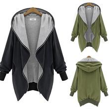 Plus Size Oversize New Fashion Women Hooded With Pocket Jacket  Casual Zipper Long Outwear Warm Cardigan Coats Casaco Feminino