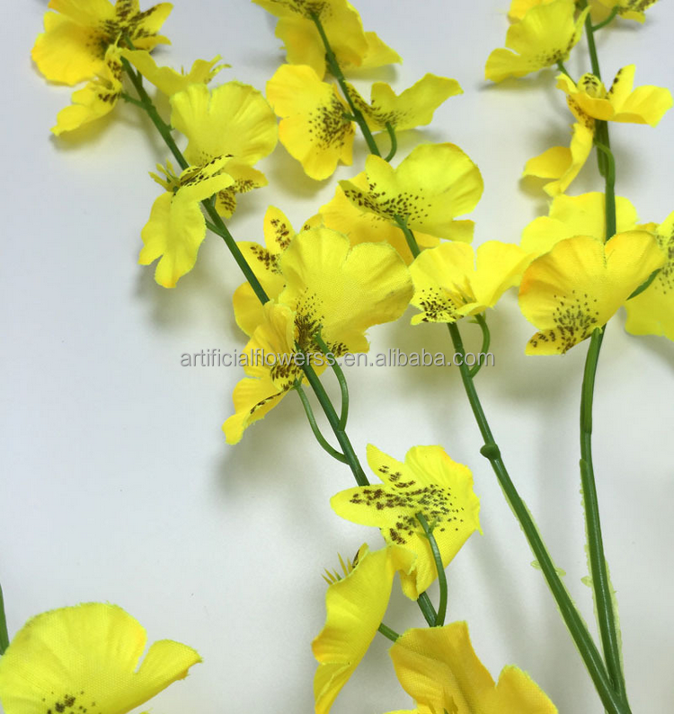 Long Yellow Colour Artificial Silk Flowers Dancing Orchids Buy
