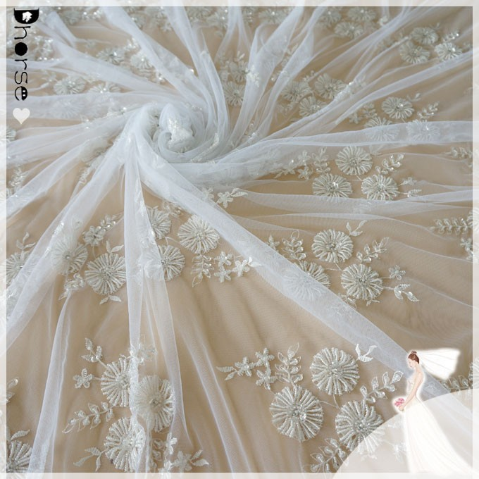 dhorse new design beaded bridal lace fabric wholesale chemical nylon/spandex French guipure bridal fabric lace DH-BF530