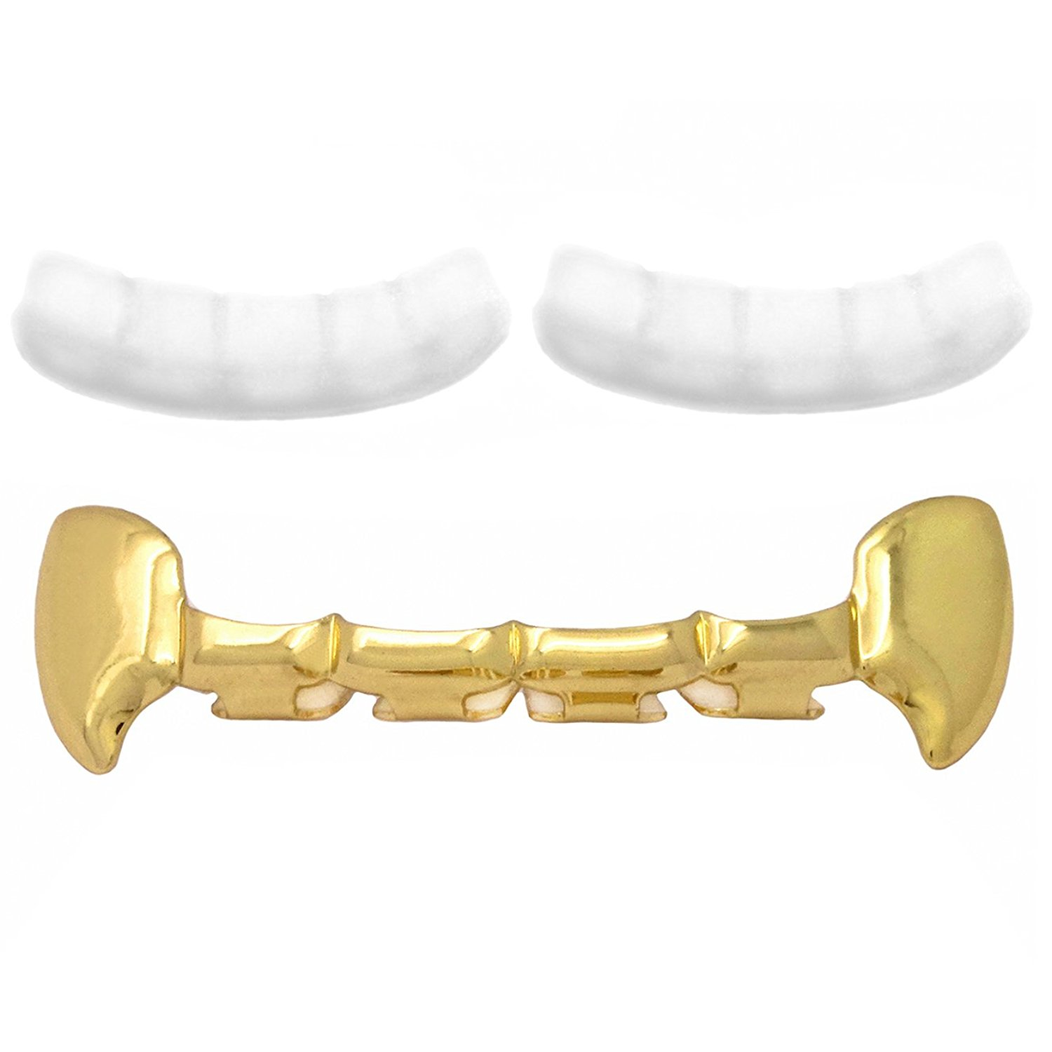 Gold Tone Hip Hop Teeth Grillz Top Fangs with 2 Silicones