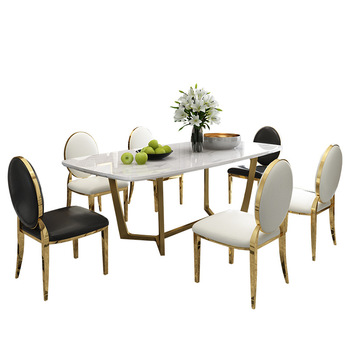 Admirable Arabic High End Gold Stainless Steel Base Marble Top Dining Table Set Buy Baroque Dining Table Sets Royal Design Dining Table Sets Round Marble Uwap Interior Chair Design Uwaporg