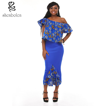 AM028 African Two Pieces Skirt Set For Women With Sexy Off Shoulder Top  African Clothing 0667b8641e
