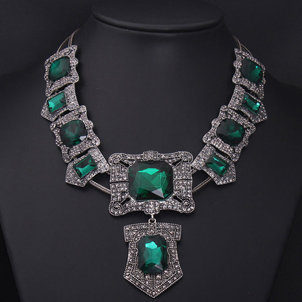 NK4834 Fashion Antique Silver necklace Emerald diamond statement necklace