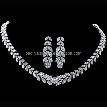 Baoliya Design White Gold Plated Teardrop Cz Zircon Necklace And Earring Set For Wedding