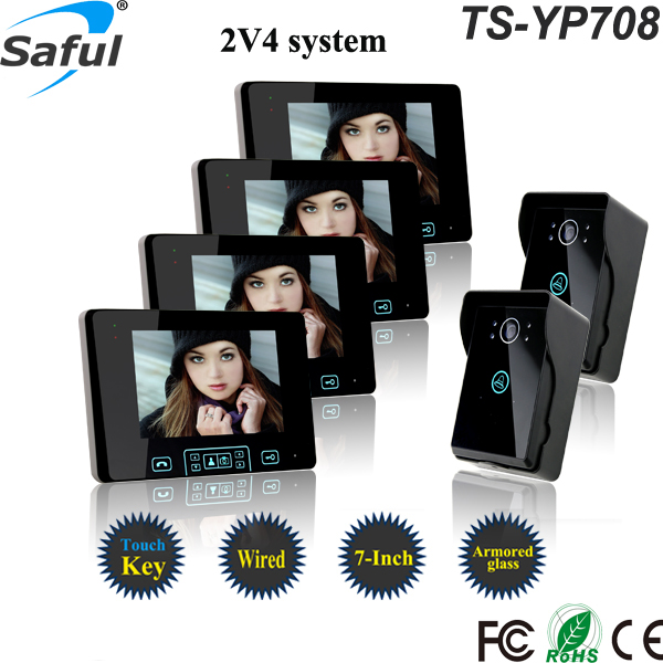 Saful TS-YP708 2 Way 7 Inch Wired Video Door Phone with Adjustable Volume