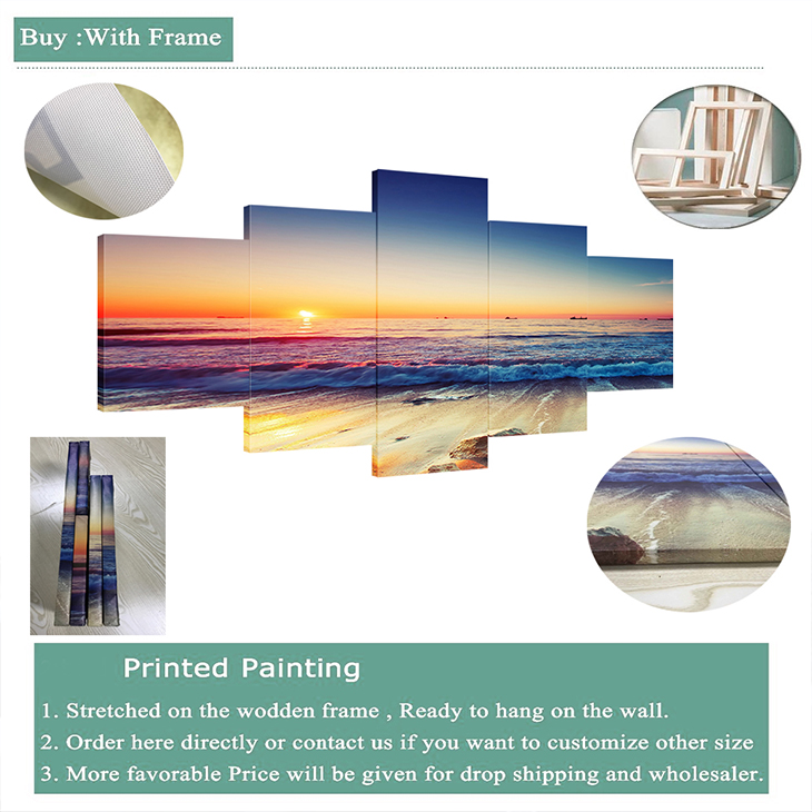 5 pictures of  lakeside sunset modern wall art decor 3d  home decor canvas print  wall art