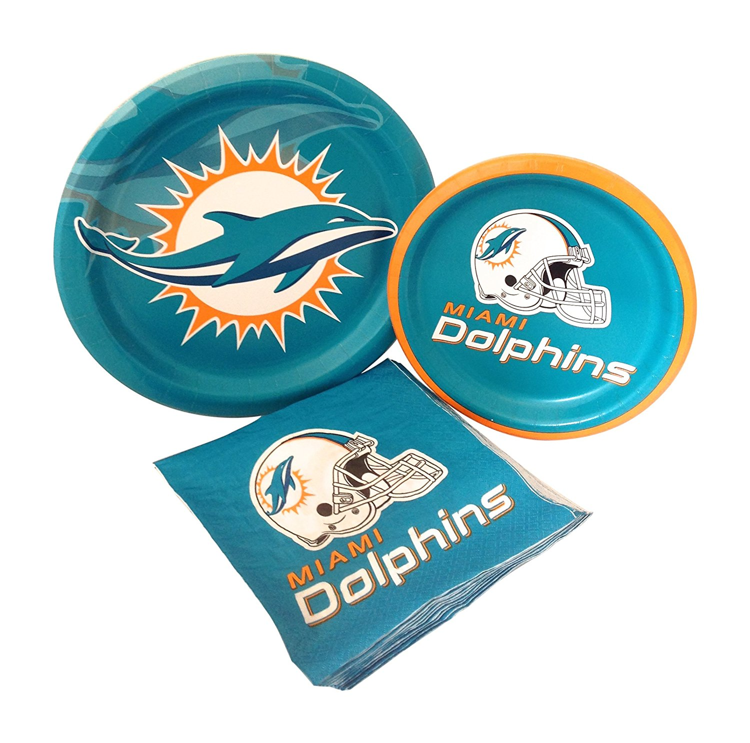 2389c670 Get Quotations · Miami Dolphins Football Party Supply Pack! Bundle Includes  Paper Plates & Napkins for 8 Guests