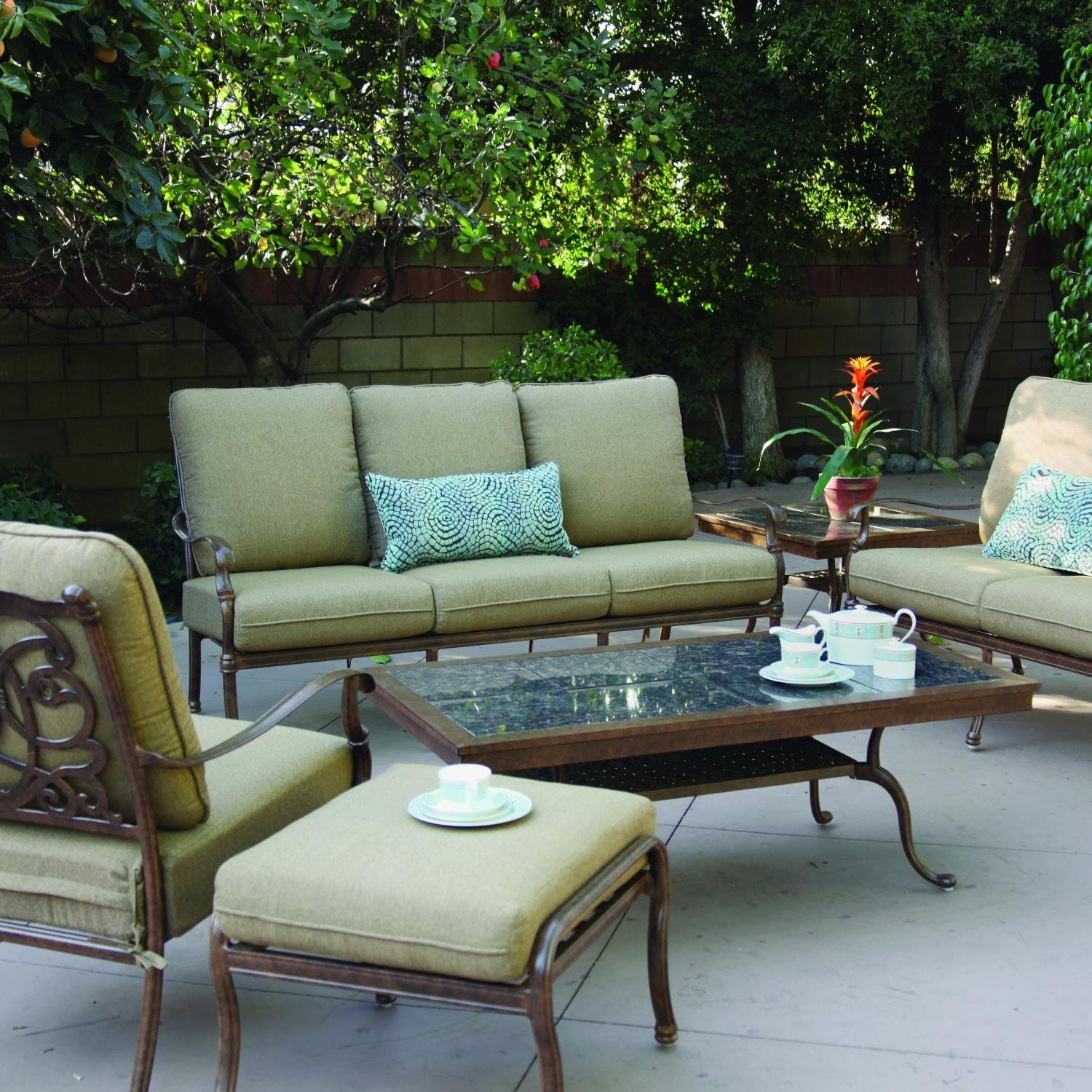 Darlee Florence 6 Piece Cast Aluminum Patio Conversation Seating Set With Granite Top Table - Mocha/Brown Granite Tile