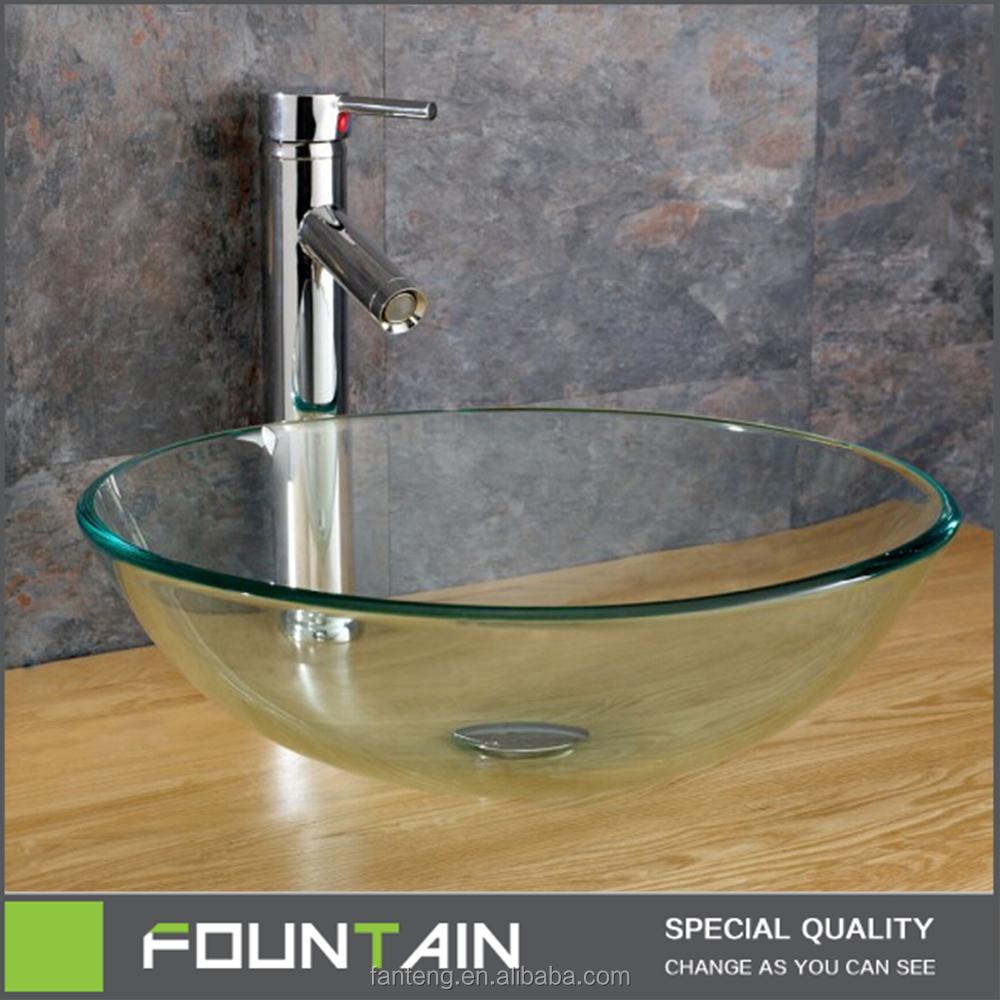 moderno gabinete lavabo encimera de lavabo de cristal claro color ronda venta caliente cuenca del gabinete